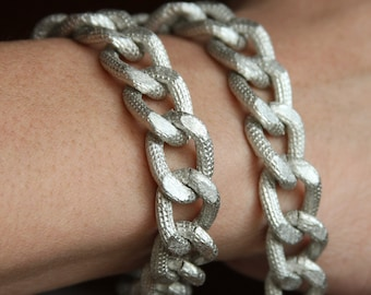 5 ft of Aluminum Chunky heavy chain Curb open link chain  21x15mm,  matte silver color chain, large chunky aluminum chain