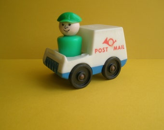70s Fisher Price vintage toy set, truck and figure, Mailman / Mail truck, original 70s, vintage toys, postman / post truck, Greece