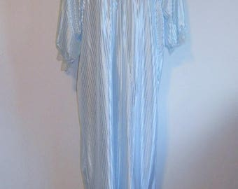 Vintage  Long Blue Nightgown ~ 1980's  Bellina Extra Long  Nightgown ~ Ice Blue Silky Embossed Stripe Nightgown ~ Lacy ~ Feminine ~ Romantic