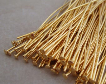 100 gold plated headpins 2 inch headpins 21 gauge