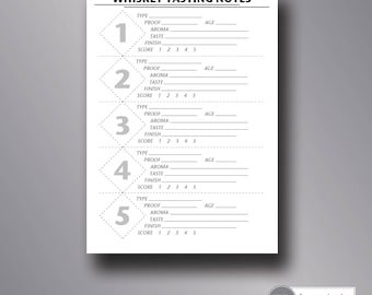 printable whiskey tasting score cards   whiskey tasting party   tasting notes   5x7   instant download