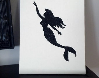 Mermaid Wall Art, Mermaid  Sign, Mermaid  Art, Nautical  Decor, Housewarming Gift, Canvas Art, Mantel Art, Nursery Wall Decor, Mermaid print