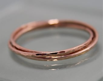 Russian Rose Gold Ring 14k Solid Gold Rolling Ring Wedding Band Infinity Puzzle Ring 3 Thin Hammered Shiny Finish