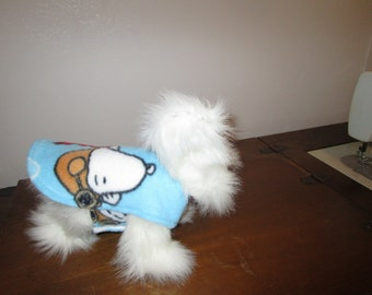 TINY DOG COAT Snoopy Print with white reverse side tiny dog jacket