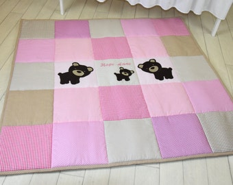 Pink playmat, baby girl play mat, bear floor gym crawl mat, baby mat thick large, soft baptism gift for boys and girls