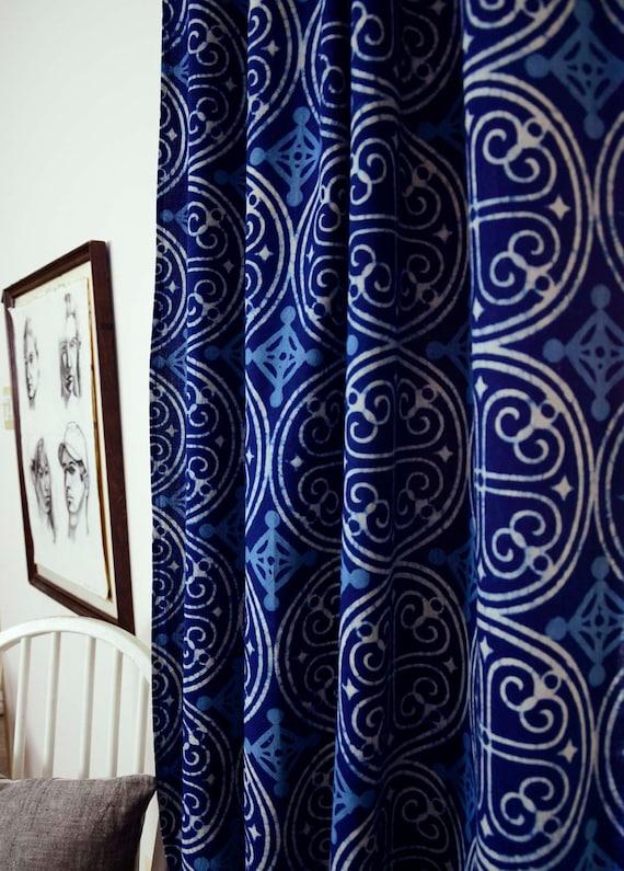 Blue Curtains Navy Window Bohemian Nautical Home Decor Housewares Block Print Living