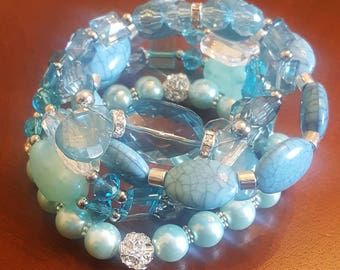 Bracelet Set/ Blue Bracelet Set/ Bracelet Stack/ Turquoise Bracelets/ Stretch Bracelets/ Beaded Bracelets/ Set of Four (4)