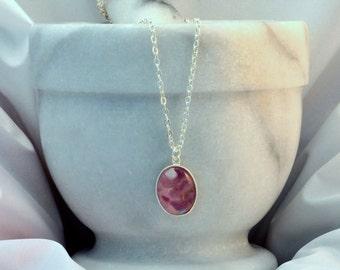Amethyst Resin Necklace- Amethyst Pendant- Amethyst Jewellery- Amethyst Jewelry- Resin Jewellery- February Birthday Gift- Handmade- N74