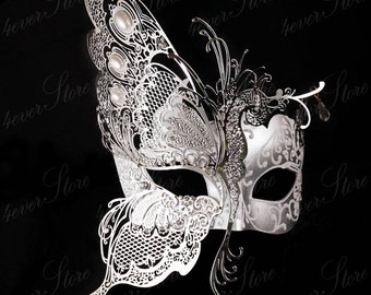 Masquerade Mask, Elegant Butterfly Mask, Masquerade Ball Mask, Mardi Gras Masks, Masquerade Ball Mask [White/Silver]