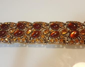 FREE  SHIPPING  Vintage  Wide  Chunky  Rhinestone  Bracelet