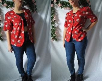 Vintage 80s Floral Button Up Shirt Red Tropical Blouse New Wave Shirt Club Kid Shirt Vintage Beach Cover Up Shirt 80s Quirky Blouse