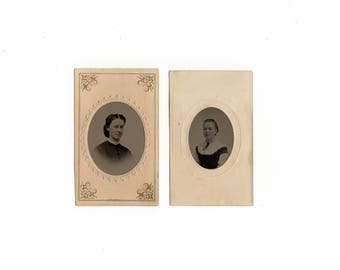 antique tintype photo set, likely mother and daughter