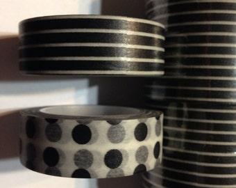 Black and white polka dots and stripes washi tape