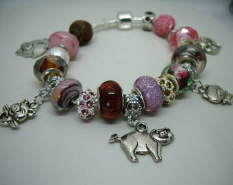 Pile of Pigs European style pig hog swine charms pink & browns Murano glass beads bracelet crystals U pick chain size Help save a cat/kitten