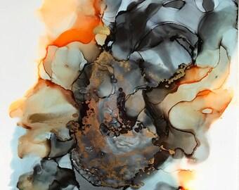 Core - Orange v.2; 11x14 Alcohol Ink on Yupo