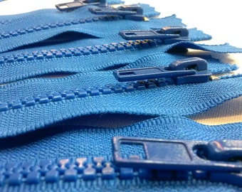 5 Molded Plastic Zippers 8 Inches 5mm Closed Bottom Color 918 Blue - (5 zippers)