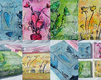 Online Mixed Media Art Fun With Faux Encaustics E-Course Workshop, Paint Collage and Play Online art class with Jodi Ohl