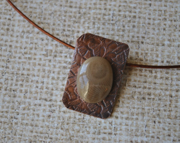 Petoskey stone and copper Pendant necklace, rustic, Michigan necklace, metal necklace