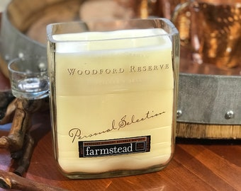 Whiskey - Handmade Natural Soy Wax Candle in Up Cycled Woodford Reserve Bourbon Whiskey Bottle