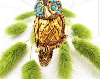 Vintage Enamel Gold Tone Pearl Owl Brooch with Turquoise Blue Eyes and Hook for Chain, Owl Pin Pendant Combo, Wise Owl Jewelry