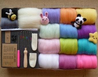 Felting kit - Now with 4 tutorials!!! - starter felting kit  - needle felting kit -Pastel merino wool toy eyes felting needles felting pad