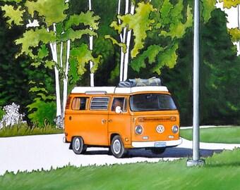 VW Van Print, Camping Art, Vintage VW Van Art, Orange Van Print, Woodland Print, Vintage Camper Van, Forest Art Print, Ontario Parks Art