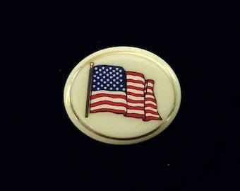 LENOX American flag porcelain brooch pin - antique patriotic jewelry - red white and blue, 4th of July, Veteran's Day, Memorial Day,