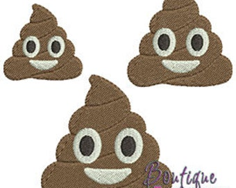 Mini Poop Emoji Embroidery Design Set - Instant Download