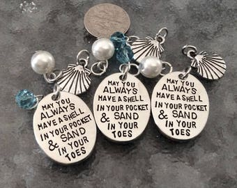"""3 - 4 piece sets """"May you Always Have a Shell in Your Pocket and Sand In Your Toes"""" Pendant,  Beach Charm, Coastal Necklace, Ocean Pendant"""