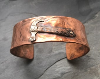 Hammered Recycled Copper Cuff with Sterling Silver Hammer Detail, forged, handmade, gift, mens jewelry, Montana, old tools,
