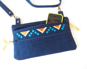 Denim Blue Crossbody Shoulder Bag Small Zippered Pockets Southwest Embroidered Design