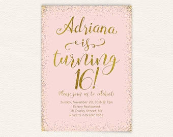 16th birthday invite etsy 16th birthday gold glitter sweet 16 birthday invitation sweet 16 party filmwisefo Image collections