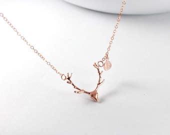Antler Necklace,Rose gold Deer Antler Charm, Reindeer, Deer Head Necklace.Antler Deer Jewelry. Rose gold filled. Rose gold necklace. gift