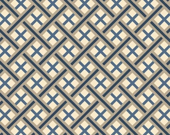 SALE Fabric - Quilting Treasures - Imperial - Trellis - Denim - Cotton fabric by the yard(s)