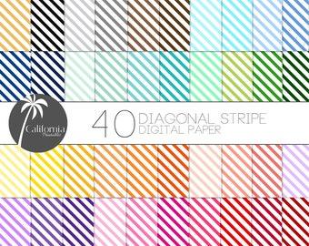 50% OFF Diagonal Stripe Digital Paper Set - Set of 40 - Diagonal Stripes - Stripe Digital Paper - Digital paper - Scrapbook