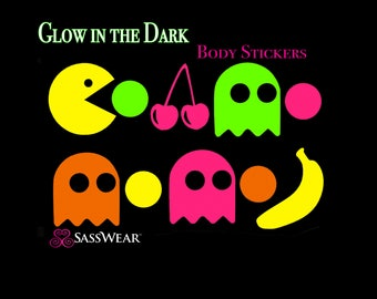 Pacman Glow-in-the Dark Body Stickers- Neon Rave Costume- Glow Stickers - Gamer Gift - Atari - Body Stickers - Reusable Tattoo Stickers