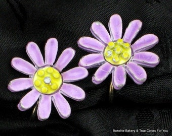 Purple Flower Vintage Earrings SaLe Modernist That 70's Show Boho Chic Cold Enamel Mid Century Violet Lavender Mad Men Yellow Clips Estate