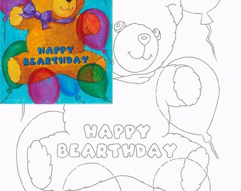 Birthday bear, Watercolor painting kit