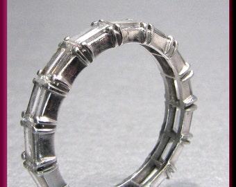 Diamond Wedding Band Vintage Diamond Eternity Band Diamond Baguette Wedding Band Ring Platinum Eternity Band Ring - R 321S
