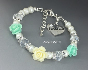 Flower Girl Jewelry Flower Girl Gift Flower Girl Bracelet Flower Bracelet Gift for Her Mint Ivory Wedding 2017