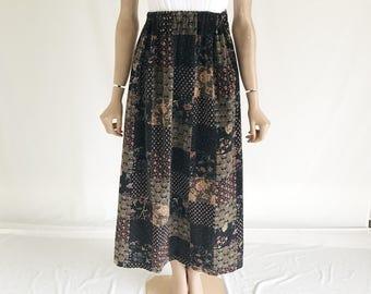 Vintage 70's Velvet Hippie Maxi Skirt