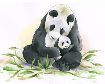 A panda mother and her cub