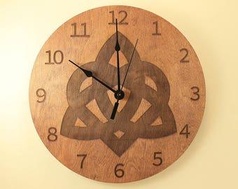Celtic knot laser cut clock Wood clock Wall clock Wooden wall clock Home clock Irish clock Celtic clock Wood knot Home clock Office clock