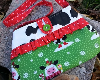 Christmas Cow Purse, Little Girl's Purse, Toddler Purse, Girl's Handbag, Girls Holiday Purse