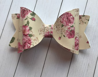 Floral Faux Leather Hair Bow