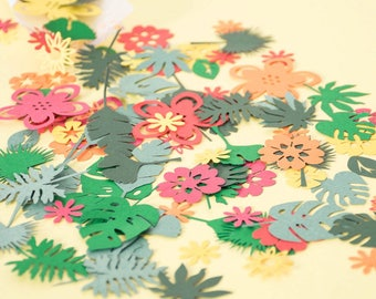 Luau Party Table Confetti - Hawaiian Party Decorations - Tropical Party Decoration -  Paper Flower Confetti - Paper Flowers - Paper Leaves