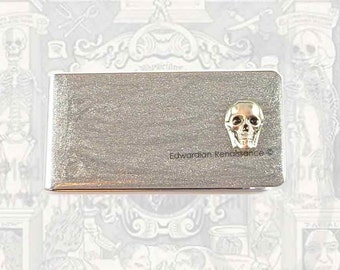 Money Clip Steampunk Antique Silver Skull Neo Victorian Inlaid in Hand Painted Silver Enamel Custom Colors and Personalized Options