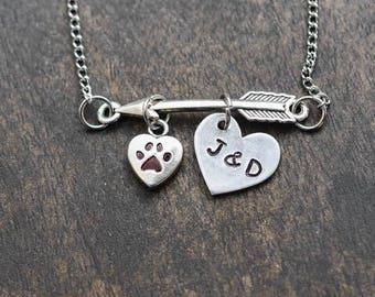 Arrow paw print necklace