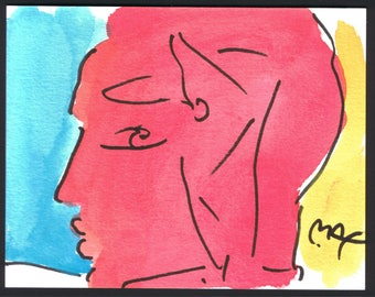 Peter Max Original water colour profile of woman (C) MAX 93 on reverse unframed 15.5cm x 12.5cm.