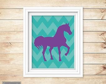 Horse Room Decor Western Purple Turquoise Teal Chevron Nursery Wall Art Girl's Room Decor Printable 8x10 Digital JPG Instant Download (12)